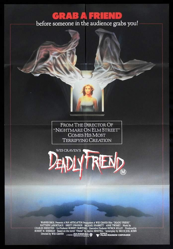 DEADLY FRIEND Original One sheet Movie poster Wes Craven Horror