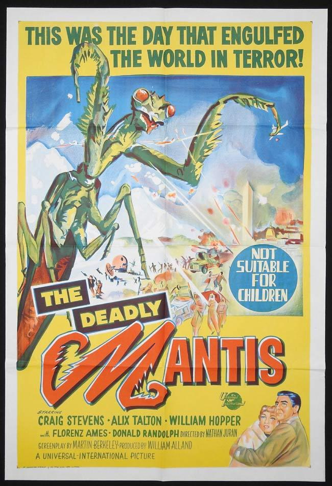 THE DEADLY MANTIS Original ONE SHEET Movie Poster John Agar Sci Fi
