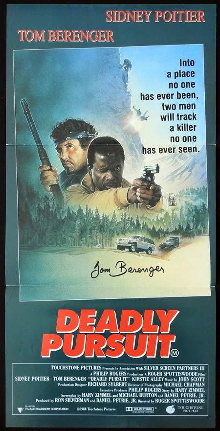 DEADLY PURSUIT Original Daybill Movie Poster Autographed by Tom Berenger