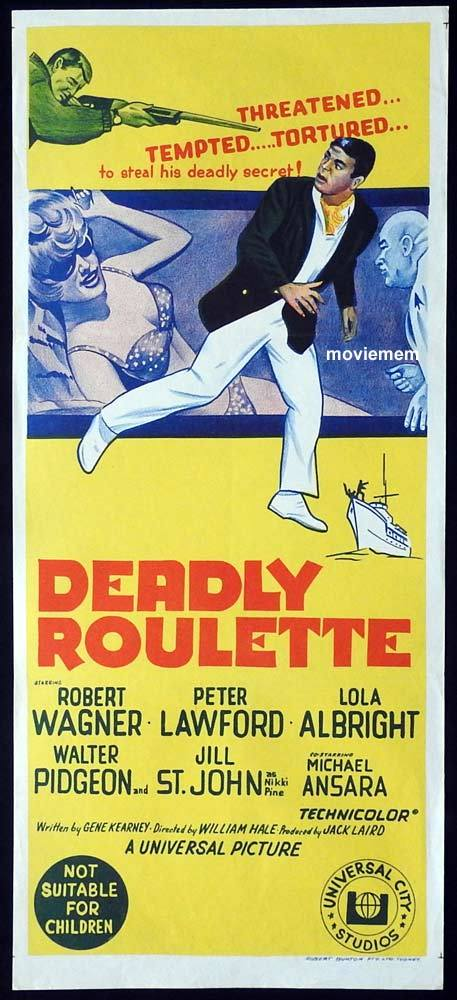 DEADLY ROULETTE Daybill Movie poster Robert Wagner Peter Lawford