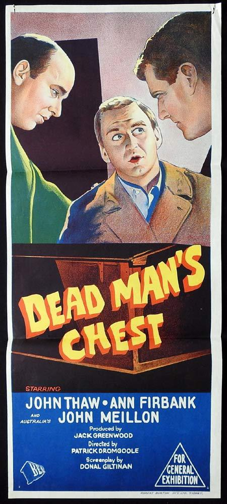 DEAD MAN'S CHEST Original Daybill Movie Poster JOHN THAW Peter Bowles Edgar Wallace
