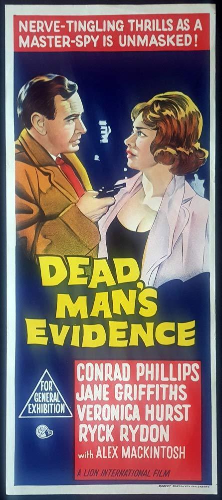 DEAD MAN'S EVIDENCE Original Daybill Movie Poster Conrad Phillips Film Noir