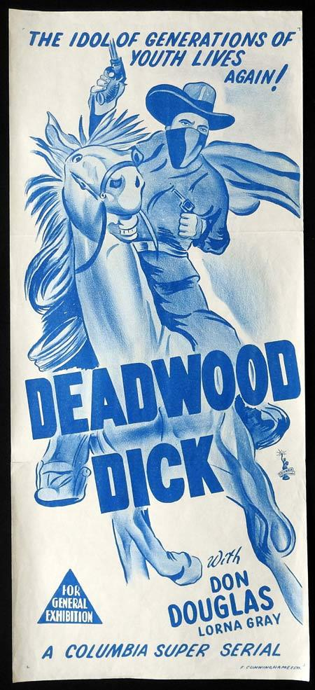 DEADWOOD DICK Original daybill Movie Poster Don Douglas Columbia Serial 1950s