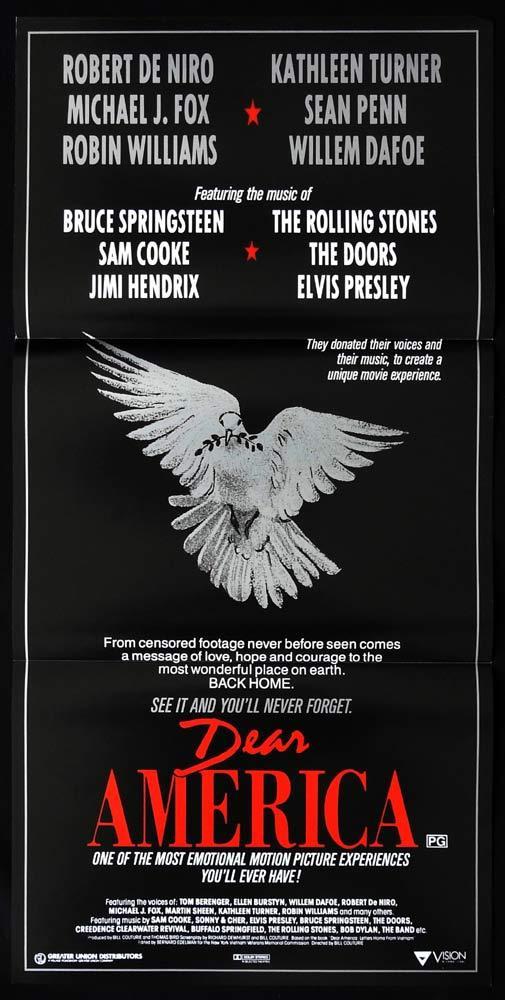 DEAR AMERICA Original daybill Movie poster Robert DeNiro Sean Penn The Doors