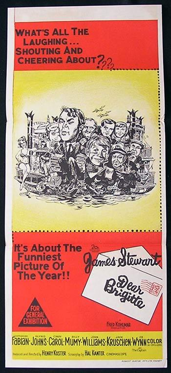 DEAR BRIGITTE Original Daybill Movie Poster James Stewart