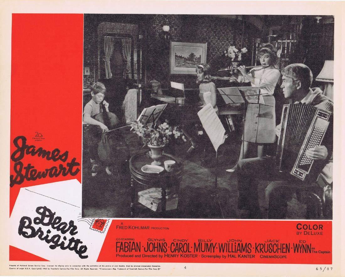 DEAR BRIGITTE Vintage Lobby Card 4 James Stewart Fabian Glynis Johns