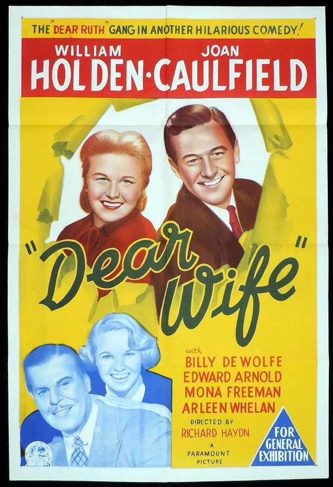 DEAR WIFE Original One sheet Movie Poster WILLIAM HOLDEN Joan Caulfield
