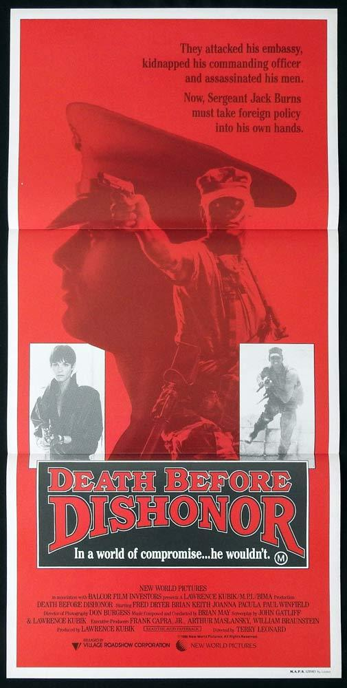 DEATH BEFORE DISHONOR Original Daybill Movie Poster Fred Dryer Brian Keith