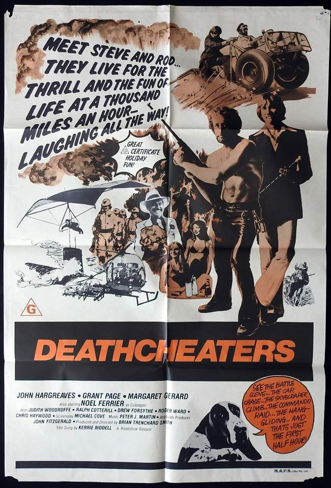 DEATHCHEATERS Original ONE SHEET Movie Poster 1976 John Hargraeves