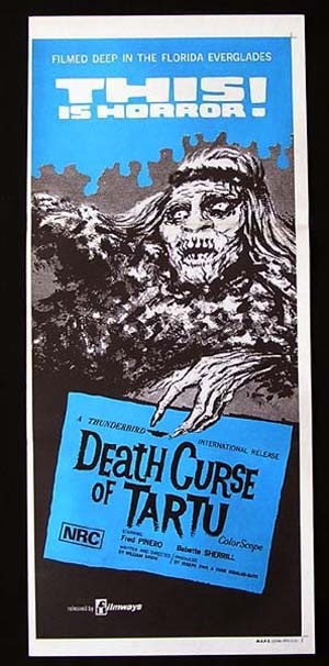 DEATH CURSE OF TARTUOriginal Daybill Movie poster Fred Pinero Horror