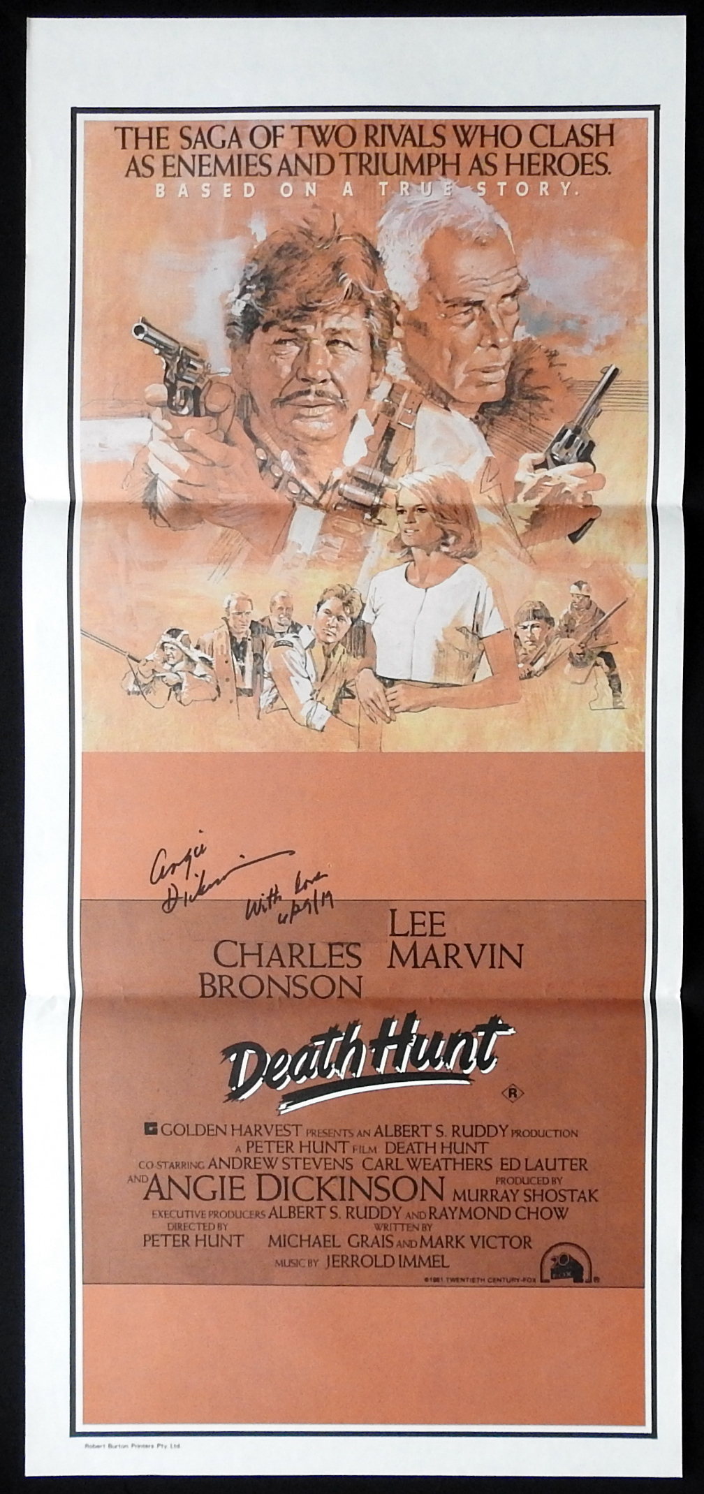 DEATH HUNT Original Daybill Movie Poster ANGIE DICKINSON Autograph
