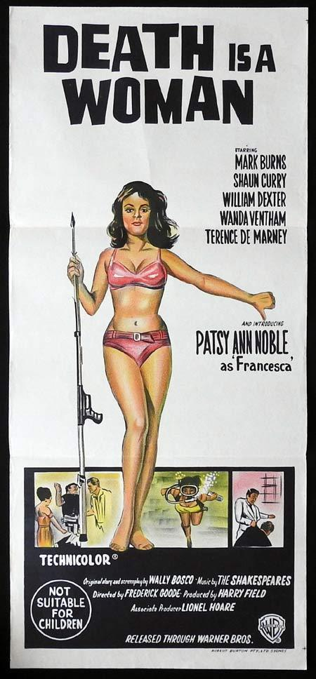 DEATH IS A WOMAN Original Daybill Movie poster Patsy Ann Noble Bikini