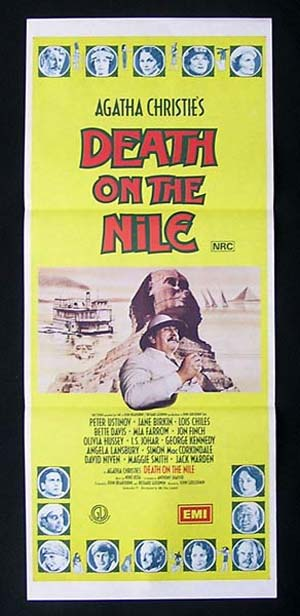 Death on the Nile, John Guillermin, Peter Ustinov Jane Birkin Lois Chiles Bette Davis Mia Farrow Jon Finch Olivia Hussey George Kennedy Angela Lansbury Simon MacCorkindale David Niven Maggie Smith Jack Warden I. S. Johar