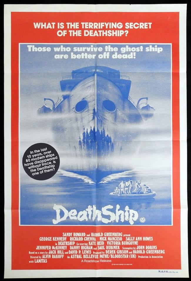 DEATH SHIP Original One sheet Movie Poster George Kennedy Richard Crenna Sally Ann Howes