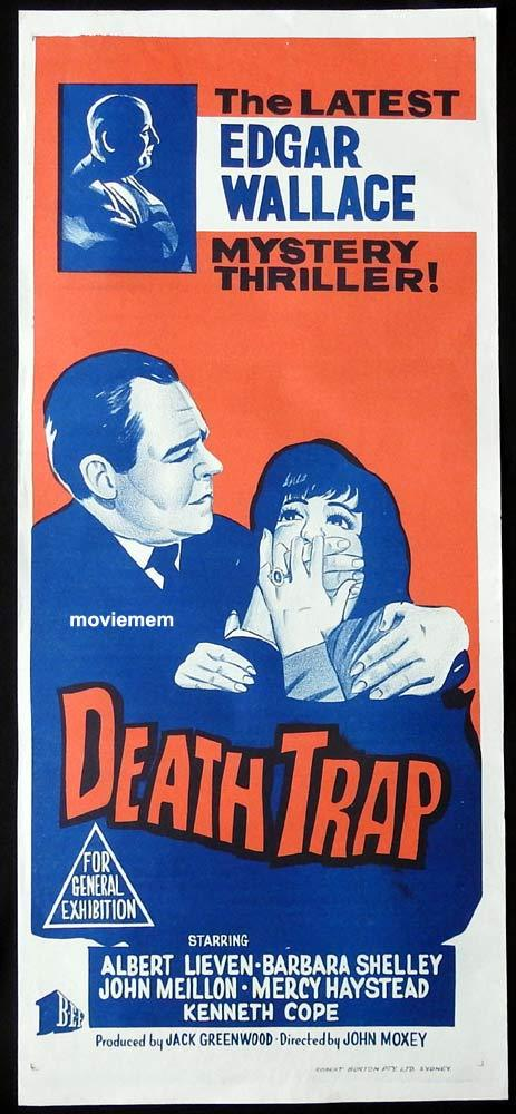 DEATH TRAP Original Daybill Movie Poster Edgar Wallace John Meillon Barbara Shelley
