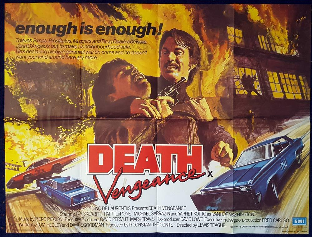 DEATH VENGEANCE aka FIGHTING BACK Original British Quad Movie poster Michael Sarrazin