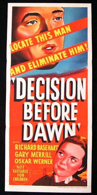 DECISION BEFORE DAWN Daybill Movie poster 1951 Richard Basehart