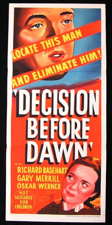 DECISION BEFORE DAWN Daybill Movie poster 1951 Richard Basehart
