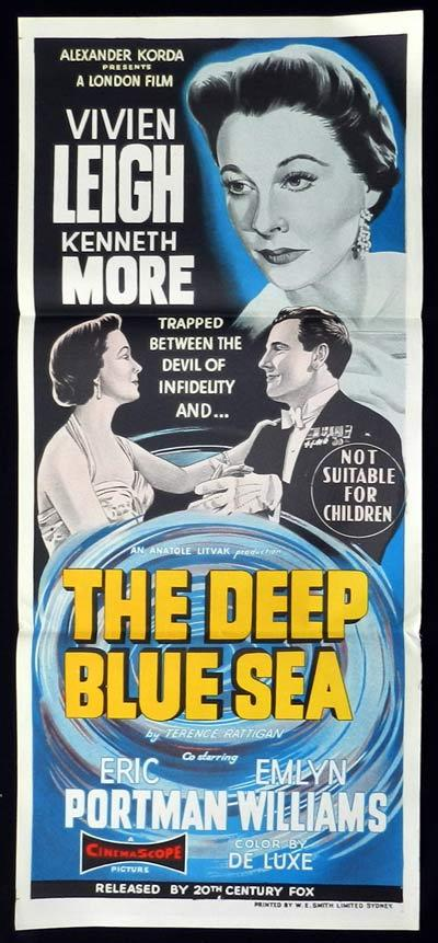 THE DEEP BLUE SEA Original Daybill Movie Poster Vivien Leigh Kenneth More