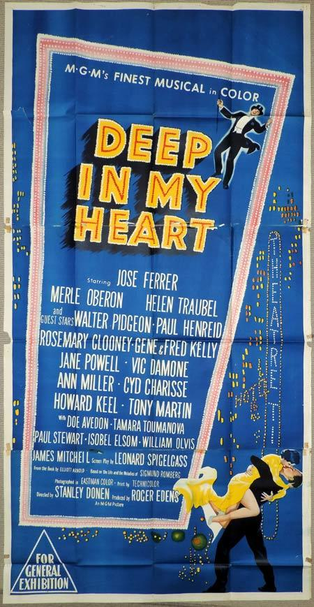 DEEP IN MY HEART Original 3 Sheet Movie Poster Gene Kelly Rosemary Clooney
