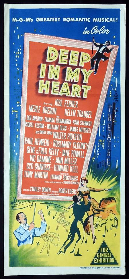 DEEP IN MY HEART Original daybill Movie Poster José Ferrer Helen Traubel Merle Oberon