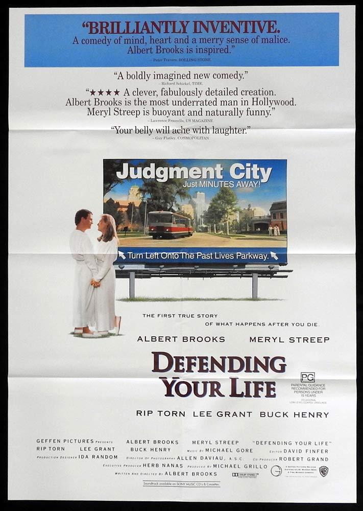 DEFENDING YOUR LIFE One sheet Movie poster Meryl Streep Albert Brooks