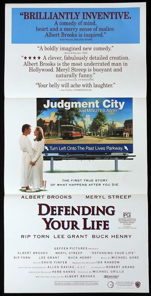 DEFENDING YOUR LIFE Daybill Movie poster Meryl Streep Albert Brooks