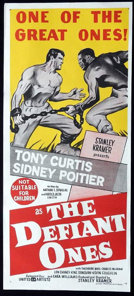 THE DEFIANT ONES Original Daybill Movie Poster Tony Curtis Sidney Poitier