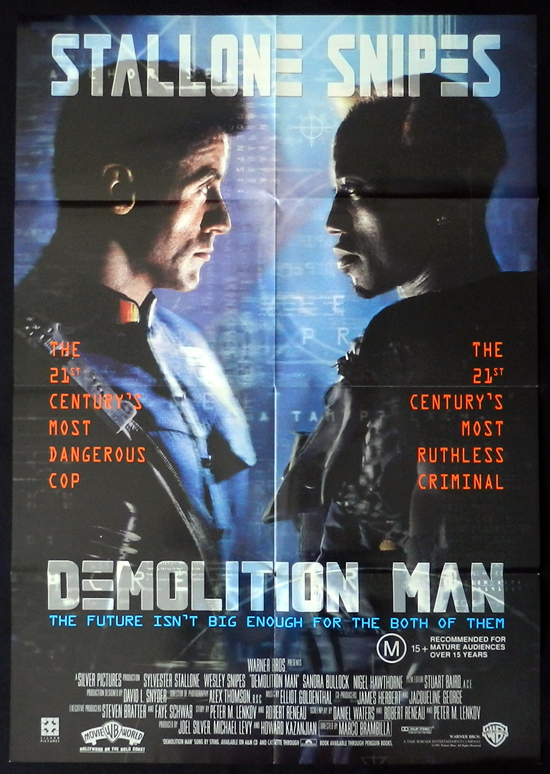 DEMOLITION MAN One sheet Movie poster Sylvester Stallone Wesley Snipes