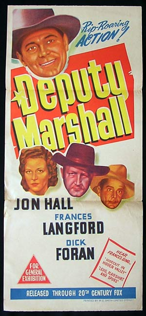 DEPUTY MARSHALL Daybill Movie poster 1949 Jon Hall