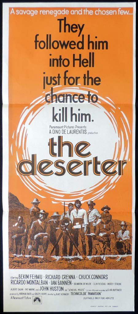 THE DESERTER Daybill Movie poster Spaghetti Western CHUCK CONNORS Fehmiu