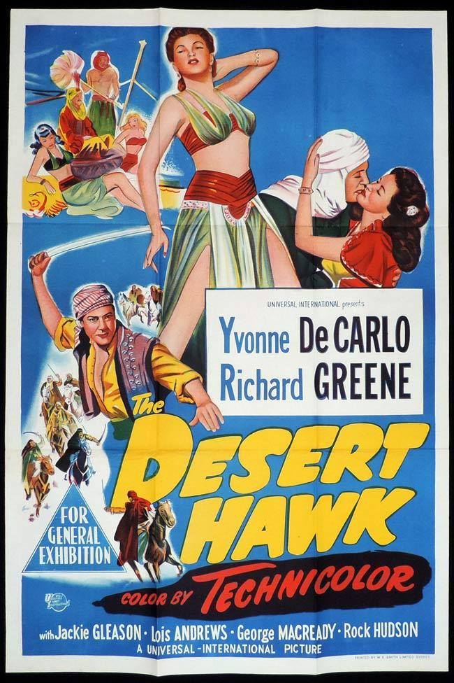 THE DESERT HAWK Original One sheet Movie Poster YVONNE DE CARLO Richard Greene