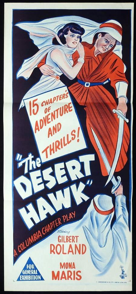 THE DESERT HAWK Original Daybill Movie Poster Gilbert Roland Mona Maris Columbia Serial