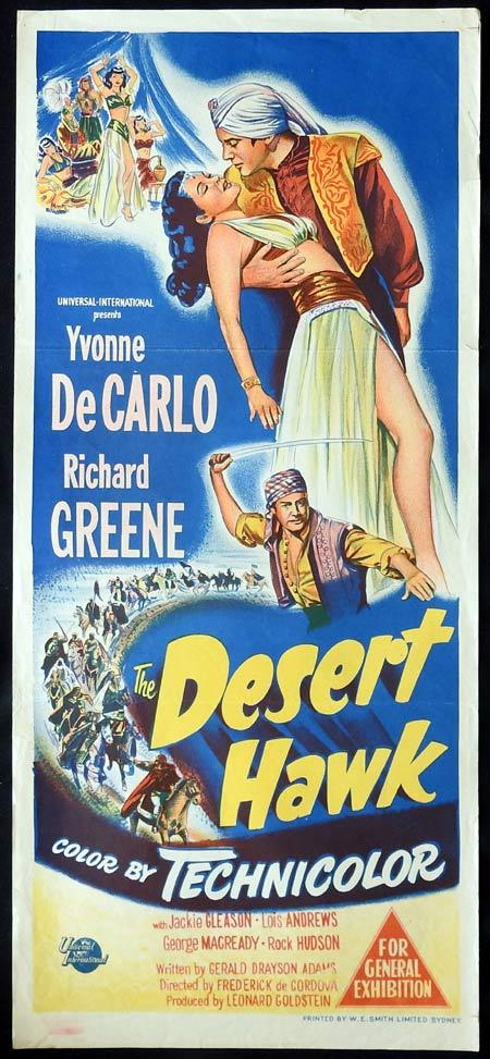 DESERT HAWK Original daybill Movie Poster Yvonne De Carlo Richard Greene
