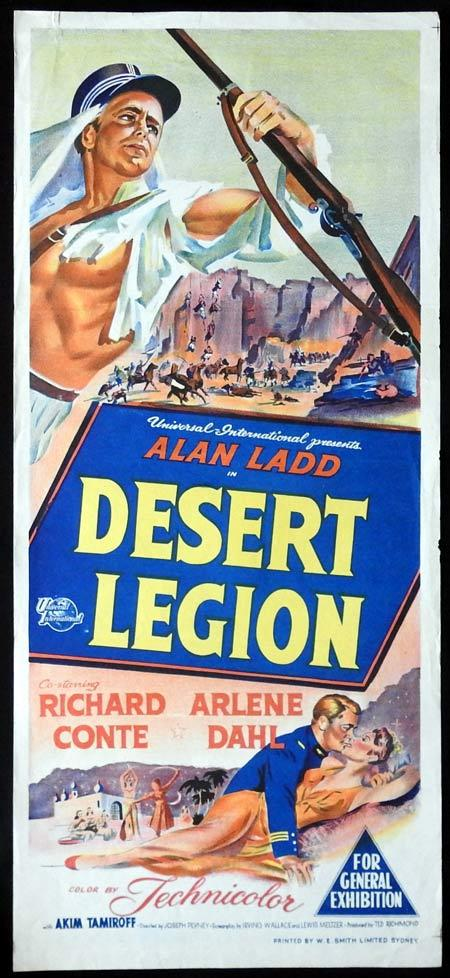 DESERT LEGION Original daybill Movie Poster Alan Ladd Richard Conte Arlene Dahl