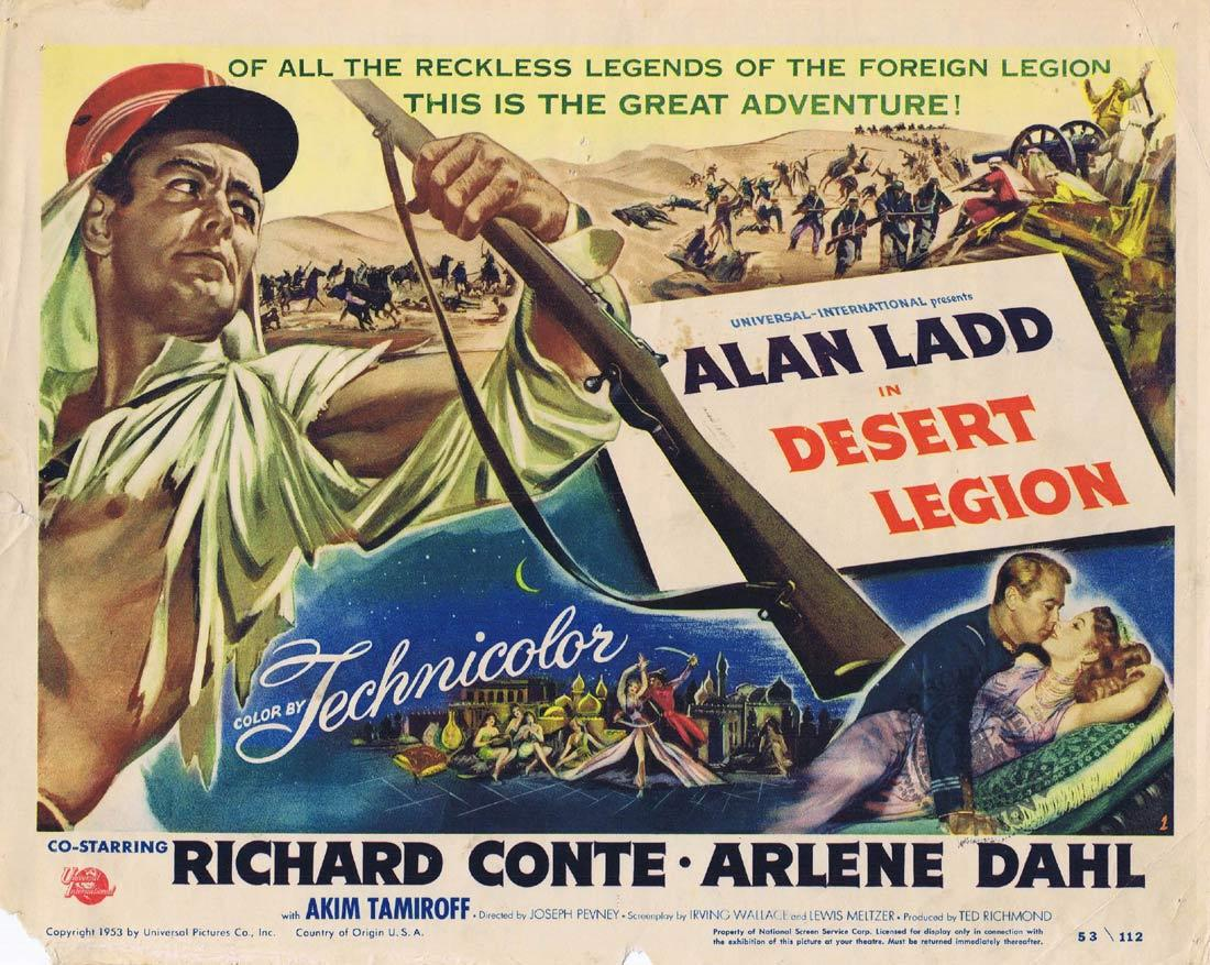 DESERT LEGION Original Title Lobby Card Alan Ladd Richard Conte Arlene Dahl