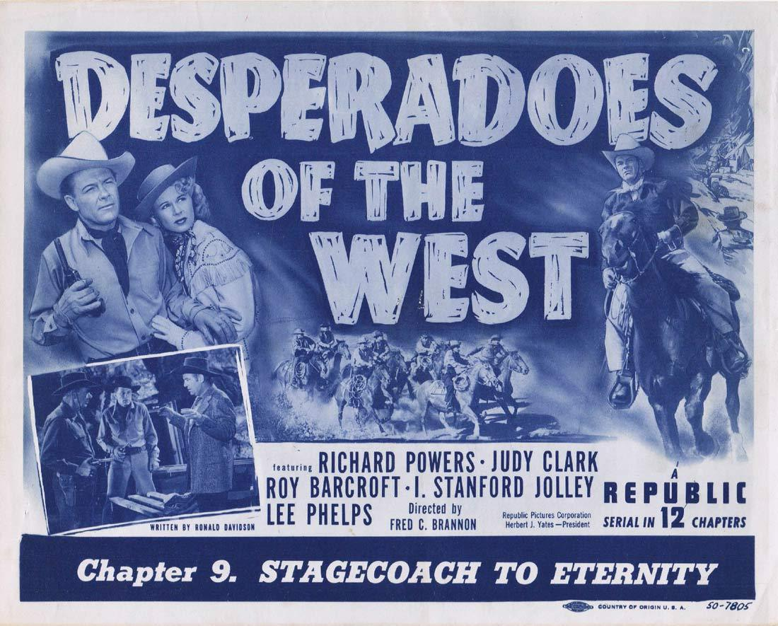 DESPERADOS OF THE WEST Original Title Lobby Card Richard Powers Judy Clark Roy Barcroft