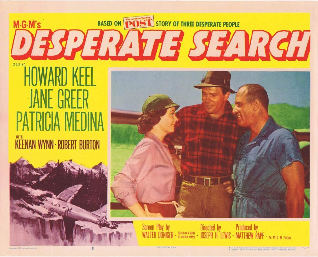 DESERATE SEARCH Original Lobby CardHoward Keel Jane Greer Patricia Medina