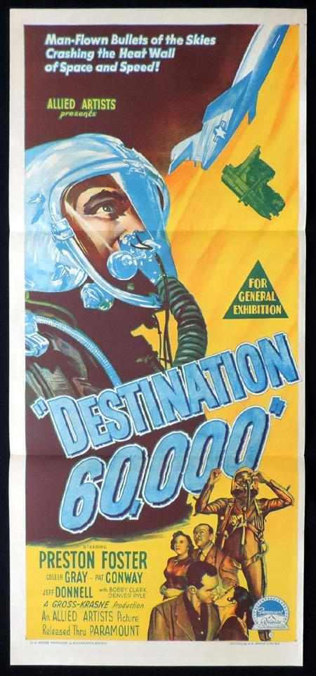 DESTINATION 60000 Original Daybill Movie Poster PRESTON FOSTER Sci Fi Richardson Studio