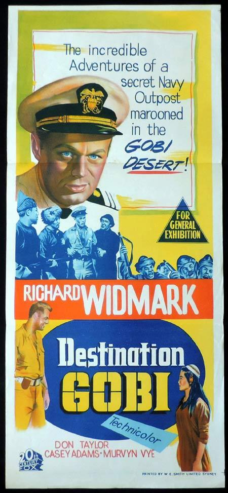 DESTINATION GOBI Original Daybill Movie Poster Richard Widmark