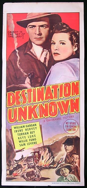 DESTINATION UNKNOWN Daybill Movie poster William Gargan UNIVERSAL