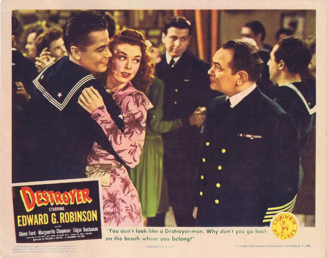 DESTROYER Original Lobby Card Edward G. Robinson Glenn Ford 1943