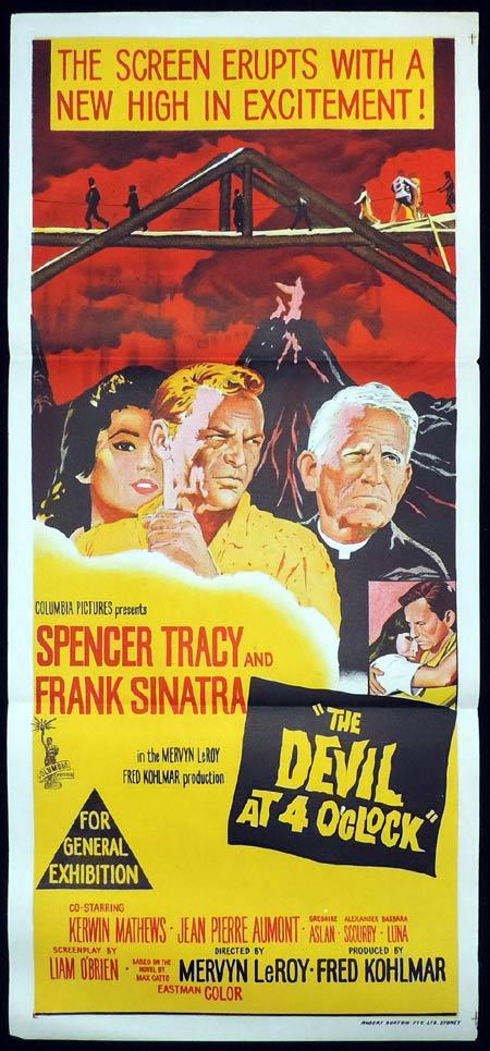 THE DEVIL AT 4 O'CLOCK Original Daybill Movie Poster Frank Sinatra Spencer Tracy Devil at 4 Oclock