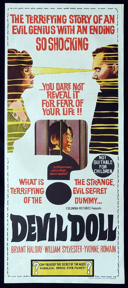 DEVIL DOLL Original Daybill Movie Poster Ventriloquist hypnotist