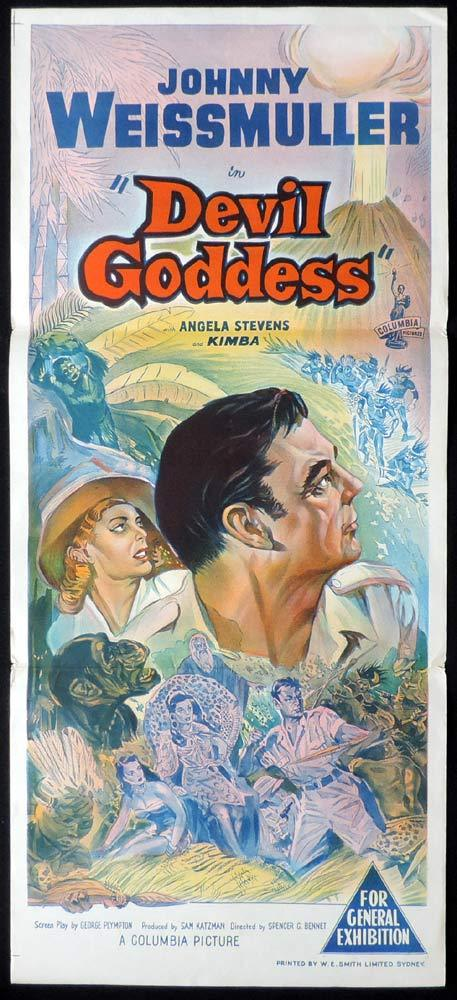 DEVIL GODDESS Original Daybill Movie poster Jungle Jim Johnny Weissmuller