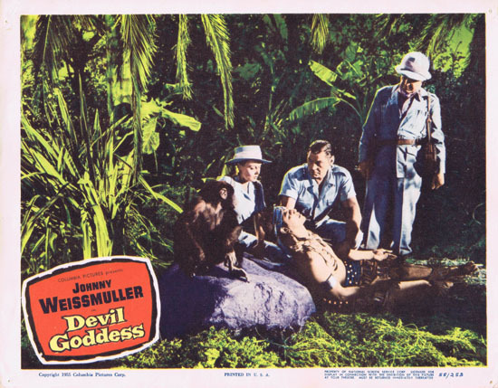DEVIL GODDESS 1955 Lobby Card 3 Jungle Jim Johnny Weissmuller