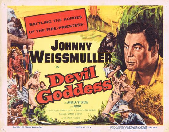 DEVIL GODDESS 1955 Title Lobby Card Jungle Jim Johnny Weissmuller