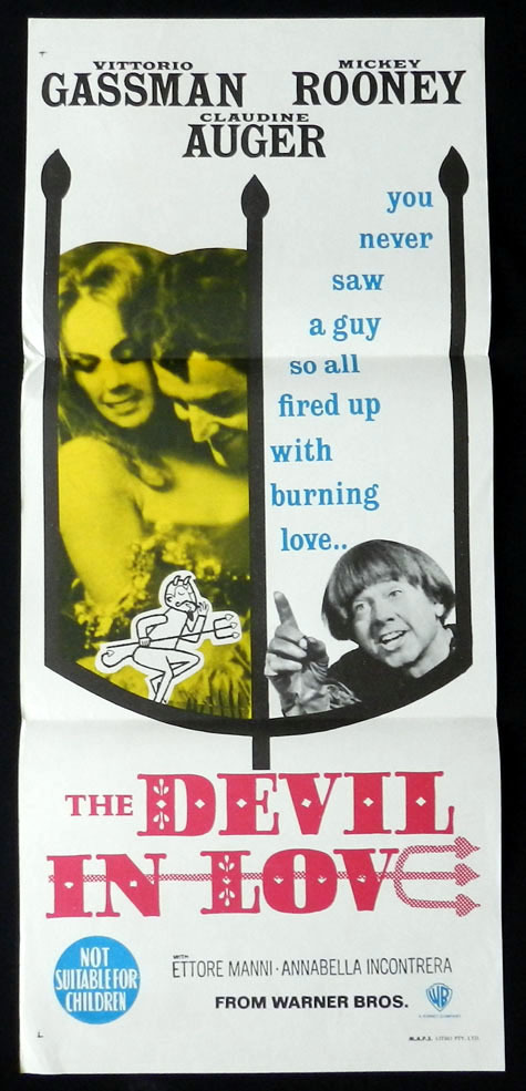 THE DEVIL IN LOVE Vittorio Gassman Mickey Rooney VINTAGE Daybill Movie poster