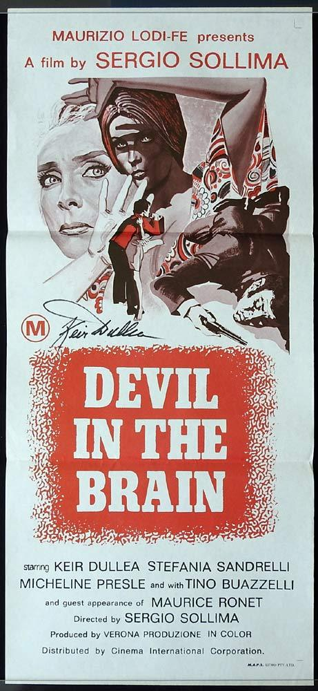 DEVIL IN THE BRAIN Original Daybill Movie poster AUTOGRAPHED By Keir Dullea
