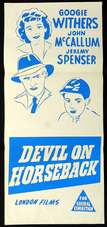 DEVIL ON HORSEBACK 1950s Googie Withers John McCallum Australian Daybill poster